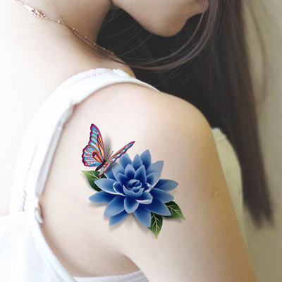 Butterfly Lotus Blue Rose 3D Flash Tattoo Sticker 19*9cm Waterproof Henna Summer Style Temporary Body Art Tatoo Free Shipping(China (Mainland))