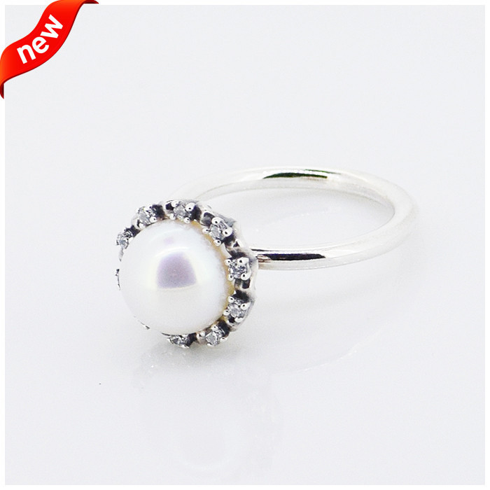 Sterling Silver white freshwater cultured pear,cubic zirconia 925 Sterling Silver Fashion Ring Free Shipping(China (Mainland))