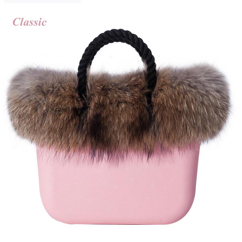 Big size women's bags with Racoon dog Fur plush decoration fashion women's handbag EVA Rubber obag 35cm x 12cm x 32cm(China (Mainland))