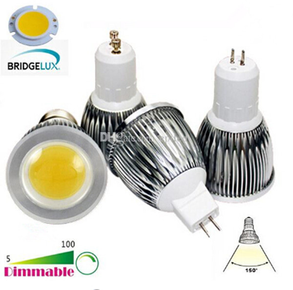 BRIDGELUX COB MR16 GU5.3 GU10 B22 E14 E27 Dimmable 6W 9W 12W LED Light LED Spotlights Bulb Lamp VS 50W 60W 70W Halogen Lamps(China (Mainland))