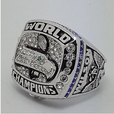 Free shipping high quality 2014 Seattle Seahawks XLVIII Super Bowl Championship ring size 10 11 12 US WILSON Fans gift(China (Mainland))