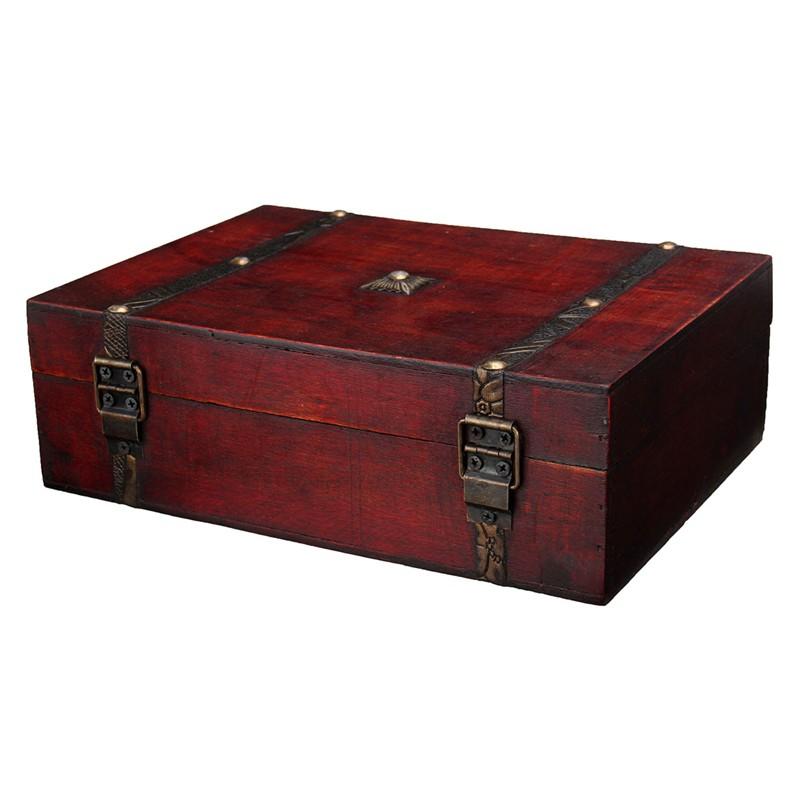 Jewelry Box New Retro Lock Storage Box Wooden Box Beautiful Storage Box Photography Props Gifts Cases 23X16X7.5cm(China (Mainland))