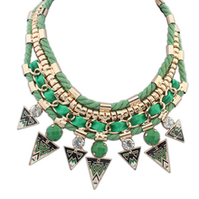 New Fashion Vintage Rope Rhinestone Beads Bib Choker Statement Necklace For Women Stripe Triangle Jewelry For
