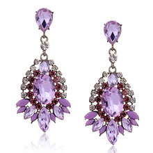 Fashion Purple Crystal Dangle Big Earrings For Women Rhinestone Brincos Grandes Waterdrop Earrings New Free Shipping(China (Mainland))