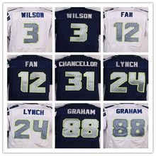Best quality jersey,Men's 12 12th Fan 24 Marshawn Lynch 25 Richard Sherman 31 Kam Chancellor 88 Jimmy Graham elite jersey(China (Mainland))