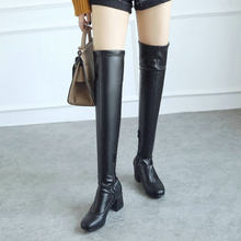 Over the Knee Boots Women Thick High Heel Boots Fashion Zipper Square Toe Thigh High Boots Warm Winter Shoes White Black 2019(China)