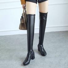 Trên Khởi Động Đầu Gối Phụ Nữ Dày Cao Gót Giày Thời Trang Dây Kéo Chân Vuông Đùi Cao Boots Giày Mùa Đông Ấm Trắng màu đen 2019(China)