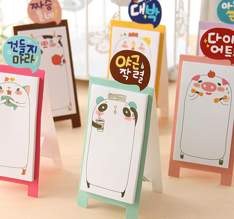3Pcs Cute standing animal memo Panda Table Notepad stickers note paper Korean stationery school office supplies pepalaria(China (Mainland))