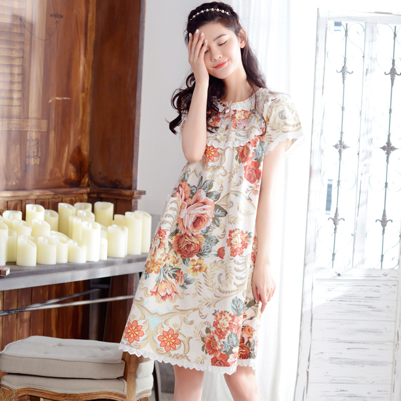 Floral Nightgown Women'S Spring And Summer Short-Sleeve Woven 100% Cotton Rustic Princess Sweet Nightdress Lounge Knee-Length(China (Mainland))