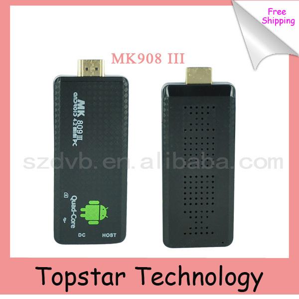 5 Pcs 2014 MK809 III Quad Core RK3188 Android TV Stick 2/8GB Bluetooth WIFI XBMC AirPlay Mk809 iii Mini PC Dongle Android 4.2.2(China (Mainland))