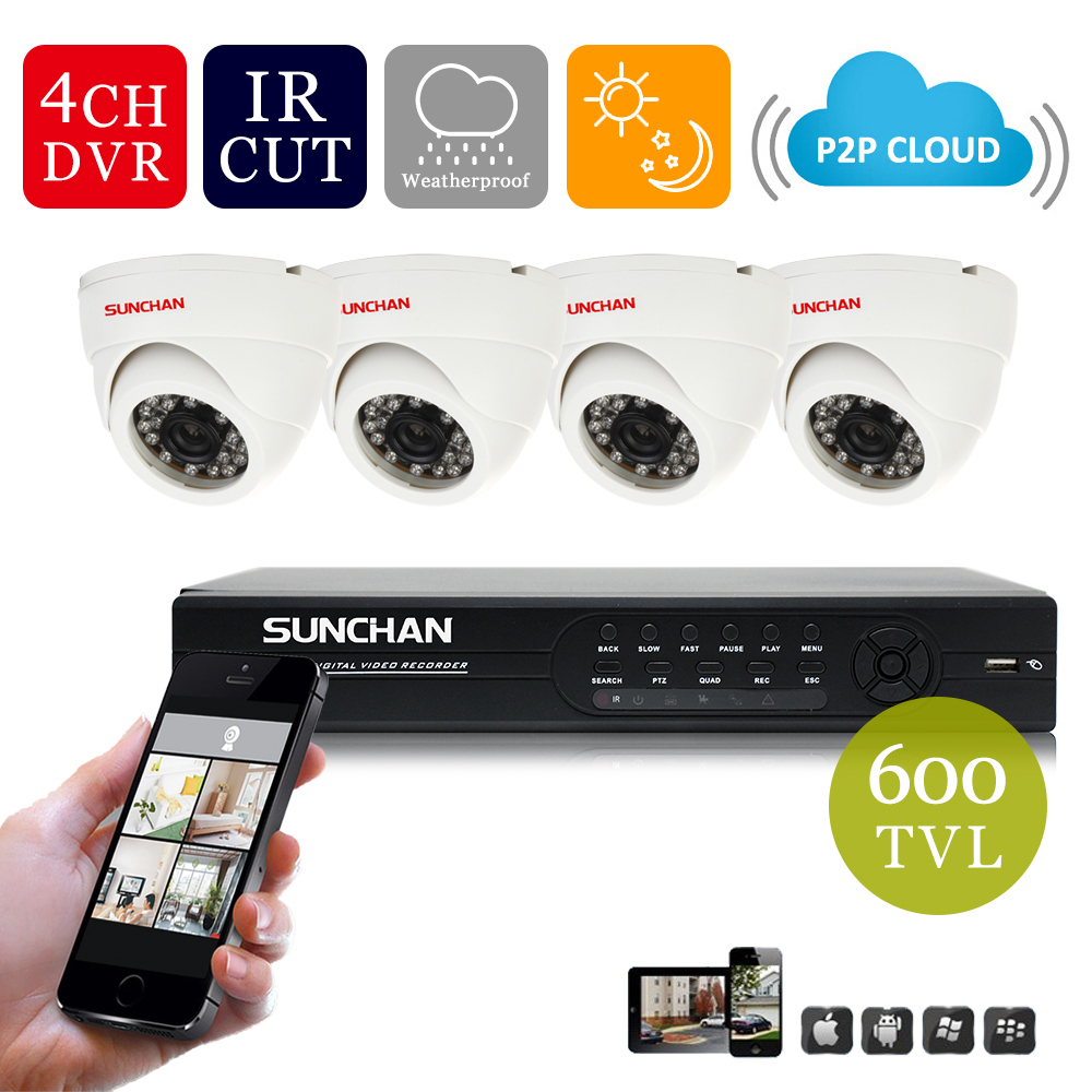 New SUNCHAN Home Security System DVR 4 Channel HDMI D1 4 Indoor High Resolution DVR 600TVL Cameras(China (Mainland))