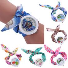 Unique Design Ladies Flower Cloth Wristwatch Fashion Casual Women Dress Quartz Watch Scarves Crystal Diamond Bracelet wholesale(China (Mainland))
