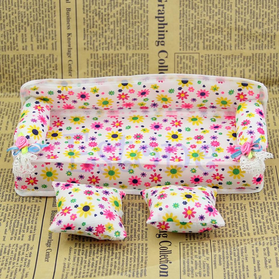 Hot Sale Doll House Home Accessories Mini Furniture Flower Print Sofa Couch + 2 Cushions Free Shipping(China (Mainland))