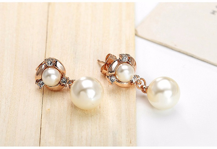 Vintage Long White Pearl Tassels Earrings For Women Fashion Female Party Crystal Earring Set Gold Plated Fine Jewelry
