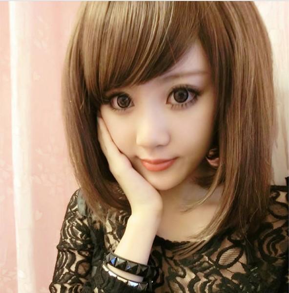 Girls vintage women's wig oblique bangs , long bobo short straight hair black brown non-mainstream