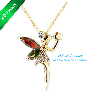 2015 New Direct Sale Gifts Special 80% off Items Hot Sale Flying Angel 18K GP Lady's Gift Crystal Necklace female short payment(China (Mainland))