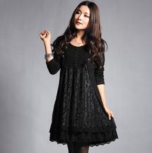 Big size clothing autumn  lace one-piece dress autumn small(China (Mainland))