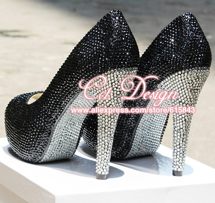Color Customized Black And White Diamond Party Evening Shoes Sexy Women Peep Toe Platforms Rhinestones Prom Shoes Dress Pumps<br><br>Aliexpress