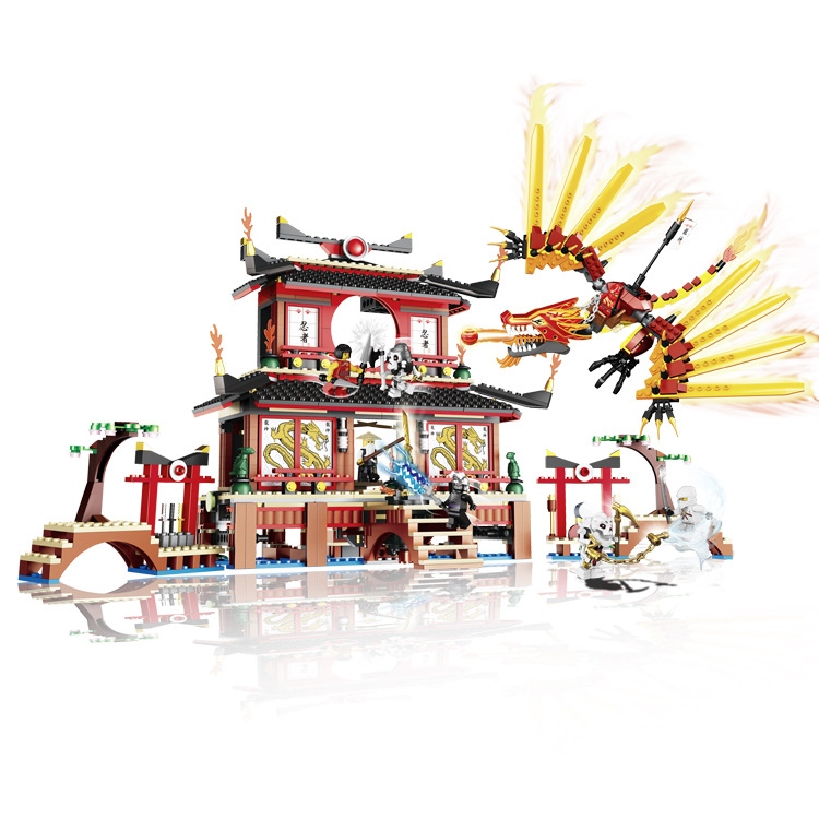 LELE Ninjago Marvel Ninja Flame Dragon Temple Building Blocks Brick Toys Minifigures Ninjagoed magformers Compatible Lego