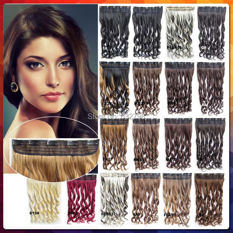 24Colors Available 24inch(60cm) 120-130G Clip In Hair Extensions Wavy/Curly Synthetic Hairpieces 5 Clips Hair Extensions