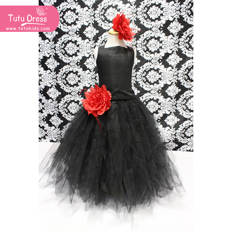 Latest Style Black Long Dress With Red Flower Girls Puffy Tutu Dresses For Kids(China (Mainland))