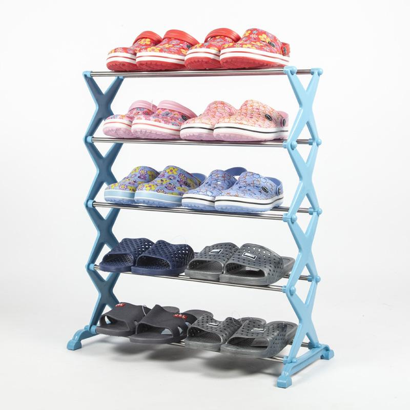 Simple shoe rack adjustable multilayer plastic pipe stainless steel storage racks(China (Mainland))