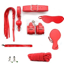 Buy 9pcs Bondage Kit Roleplay Handcuff Whip Rope Blindfold Ball Gag BDSM sex toys couple Adult Games couples RST3-RD