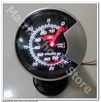 2.5 INCH 60MM Vacuum Gauge, Black Smoke Style Face, Car Gauge, Car Meter, Include Sensor and Wires(China (Mainland))