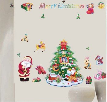 Wholesale removable Christmas Decorative DIY Home Decor, Wall Stickers, Sittng Room Wall Decals 50pcs/lot free shipping