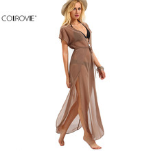 Buy COLROVIE Ladies Brown Drawstring Waist V Neck Split Dresses Summer Beach Wear Sexy Short Sleeve Long Maxi Dress for $12.98 in AliExpress store