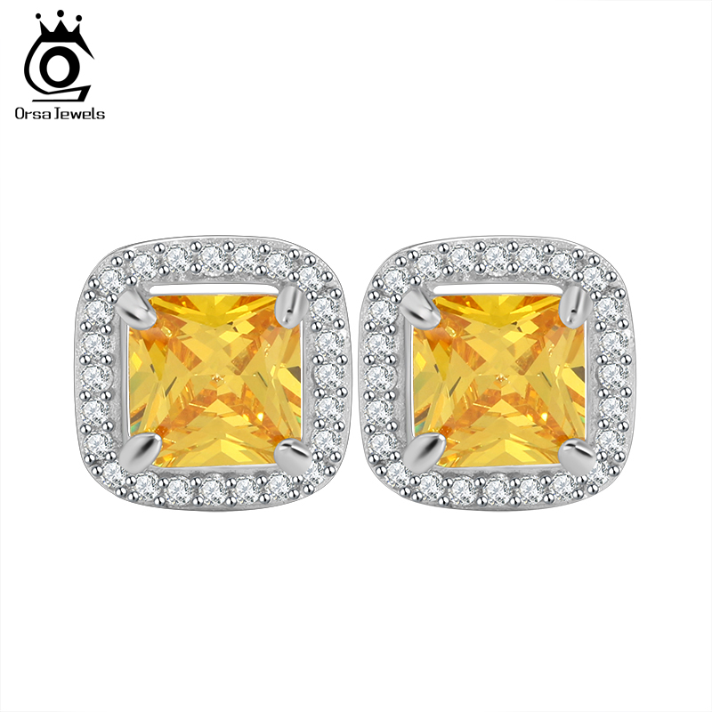 ORSA JEWELS Princess Cut Yellow Zircon Earring Stud with AAA Grade Micro Paved CZ Luxury Earring for Women OE123(China (Mainland))