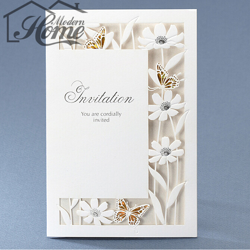 10sets 175 * 115mm White Flowers Laser Cut Wedding Invitations Card For Birthday Party Wedding Event Party Decoration Invitation(China (Mainland))
