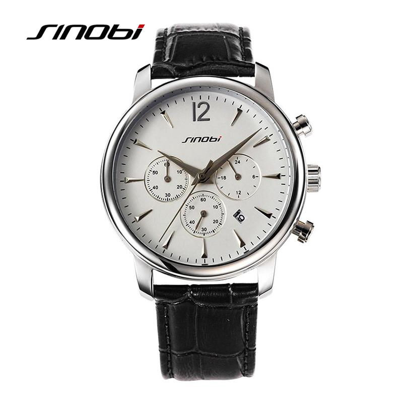 SINOBI Mens Casual Watch Luxury Brand Black Leather Gold Case Quartz-watch Waterproof Gents Business Wristwatch Montre Relojes<br><br>Aliexpress