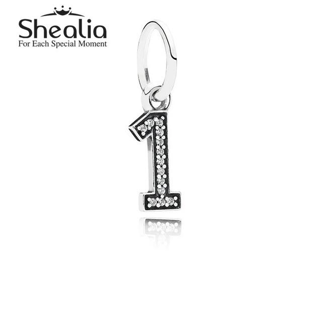Аутентичные стерлингового серебра 925 номер один мотаться подвески подвеска с четкими CZ для женщин подходит известный бренд DIY браслеты LE1401
