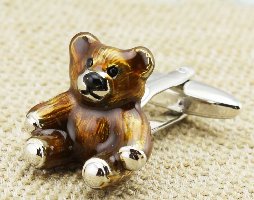 Cuff Links New 3D Brown Teddy bear CUFFLINKS for Shirt Only One H1503(China (Mainland))