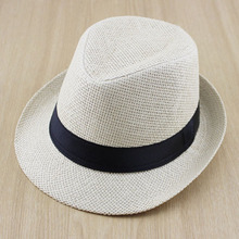 Solid Color Boys Girls Straw Fedora Hat Children Top Hat Topee Kids Summer Straw Sunhat Jazz Caps 2pcs/lot FH025