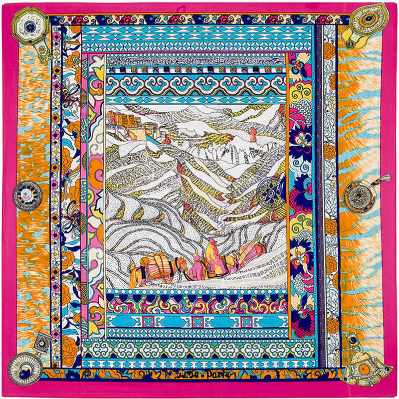 100cm*100cm 100% Twill Silk Euro Brand Scenery Printed Women Big Size Silk Square Scarf Quality Shawls 4121(China (Mainland))