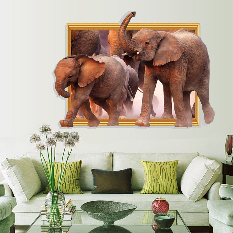 3D Elephants Wall Stickers Modern Bedroom a Sitting Room Porch Study Restaurant Decorative Wall Stickers(China (Mainland))