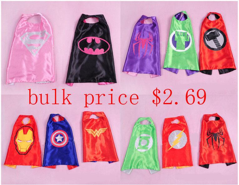 55 * 69CM kids superhero capes Halloween black super hero cape Superman Spiderman for Cosplay Party Children's Girl Costume gift(China (Mainland))