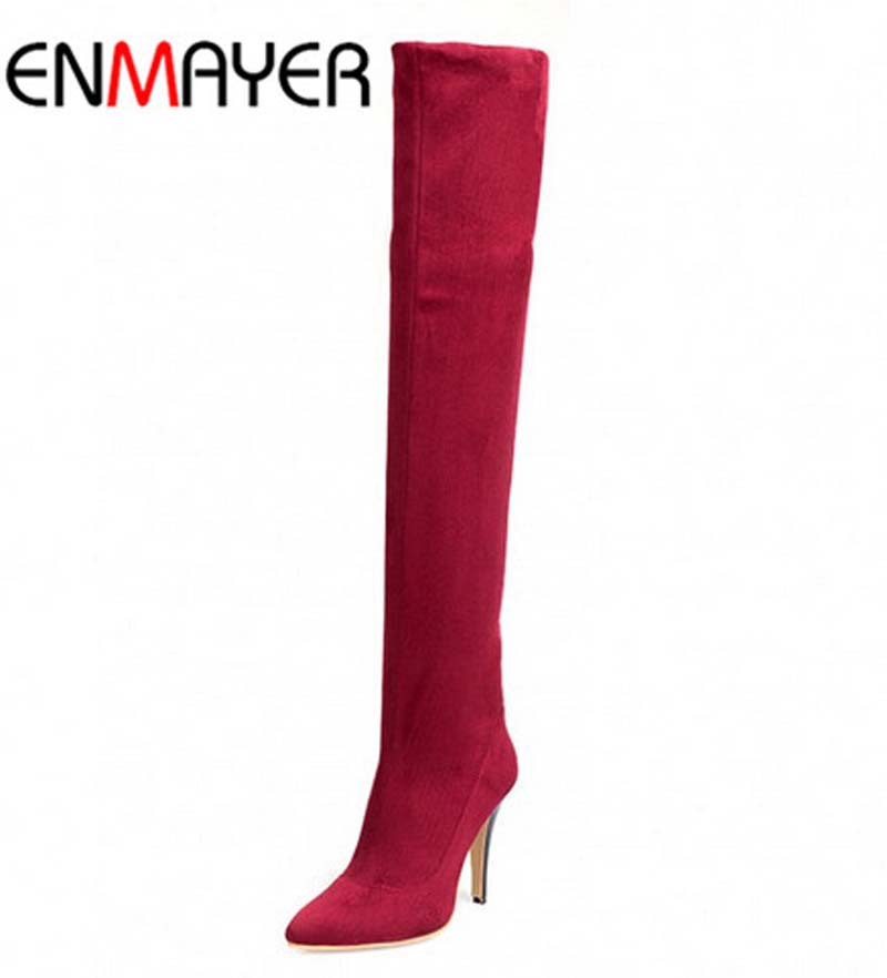 ENMAYERFashion 34-45 Shoes Women Motorcycle Boots for Women Pointed Toe Boots Black Autumn Winter Long Knee High Boots for Women<br><br>Aliexpress
