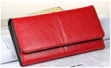 Hot sell! Women Wallets Genuine Leather Purses Long Wallet Women Elegant Female Red Women's Wallets 100% leather free shipping(China (Mainland))