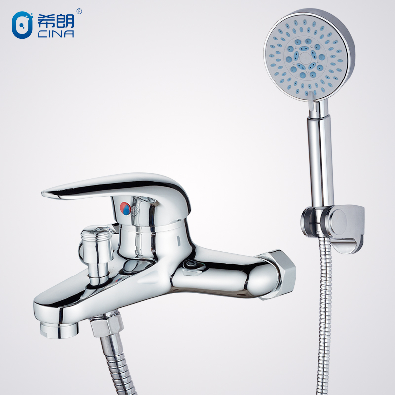 Chrome Brass Water Pressure Boosting Bathroom Rain Shower Mixer With Faucet And Tub Set(China (Mainland))