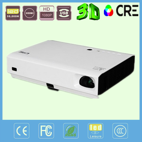 3800lm high brightness 1280x800 home theater Digital multimedia video Full HD 1080p 3D DLP projector HDMI - China Best Brand CRE LED Projector store