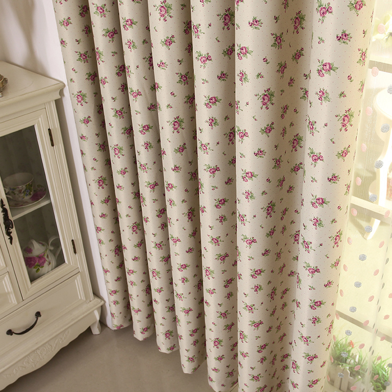 Factory Outlets Curtain Flame Retardant Double-Sided Printing Curtains For Living Room Pastoral Style Floral Drapes Customize(China (Mainland))