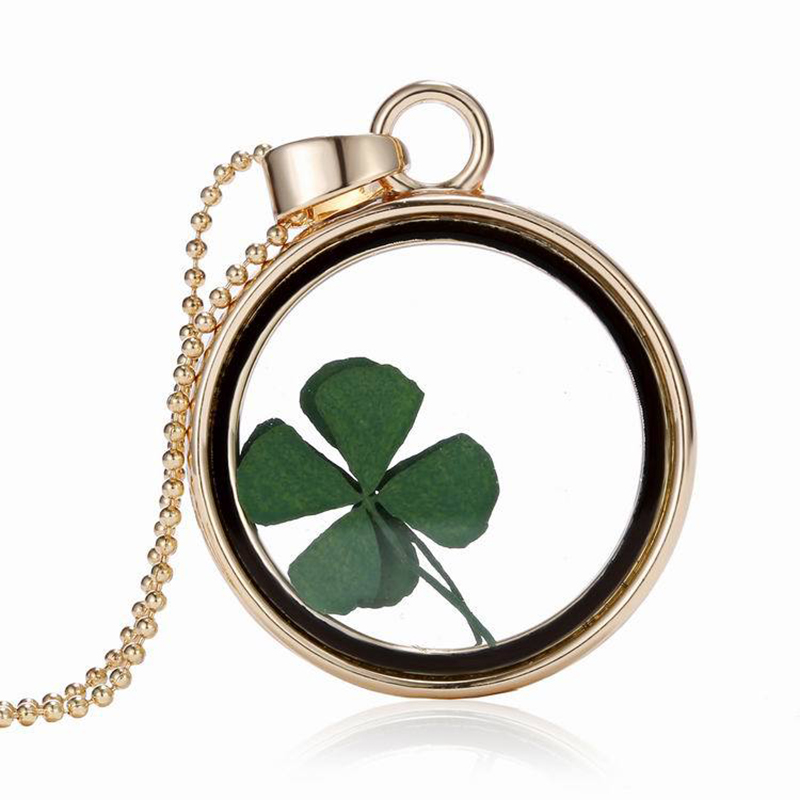 St Patricks Day Four Leaf Clover Shamrock Real Flower Necklace Pressed Botanical Circle Gold Jewelry Pendant Lucky Charm(China (Mainland))