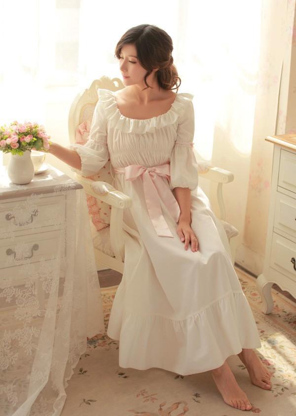2015 new  100% Cotton Nightgown Princess Nightdress Royal pijama Ladies Sleepwear Long White Women nightwear roupao femininoОдежда и ак�е��уары<br><br><br>Aliexpress