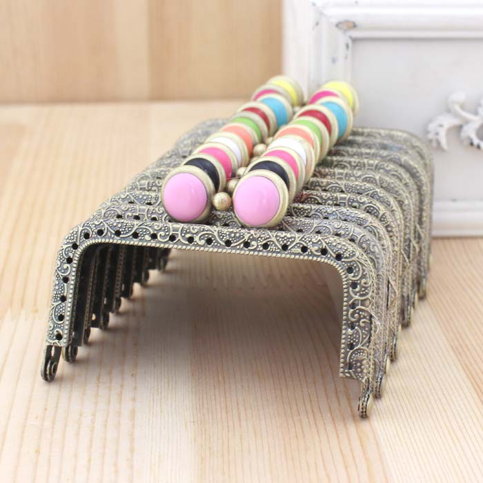 20PCS/LOT 8.5cm Colorful flat bead Metal Purse Frame square antique bronze brass Coin Purse Frames,Freeshipping KK12(China (Mainland))