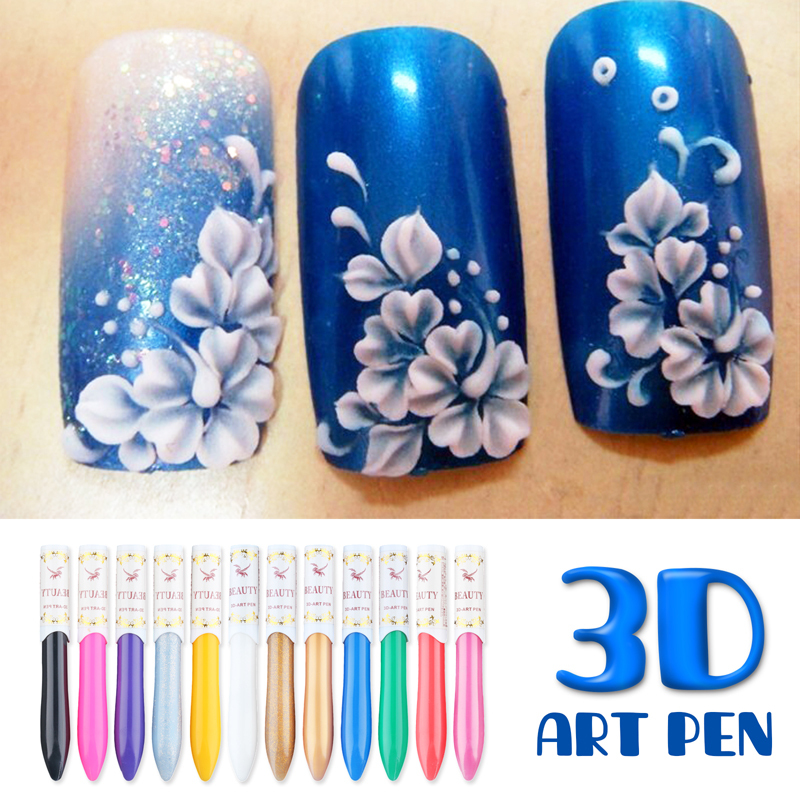 YaoShun 12 Colors/Set Professional 3D Nail Art Paint Drawing Pen Acrylic Nail Art Polish Carved Pen Kit DIY Nail Tools(China (Mainland))