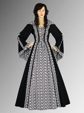 Medieval Renaissance Maiden Dress Gown with Hood Medieval Costume Black ornaments Handmade
