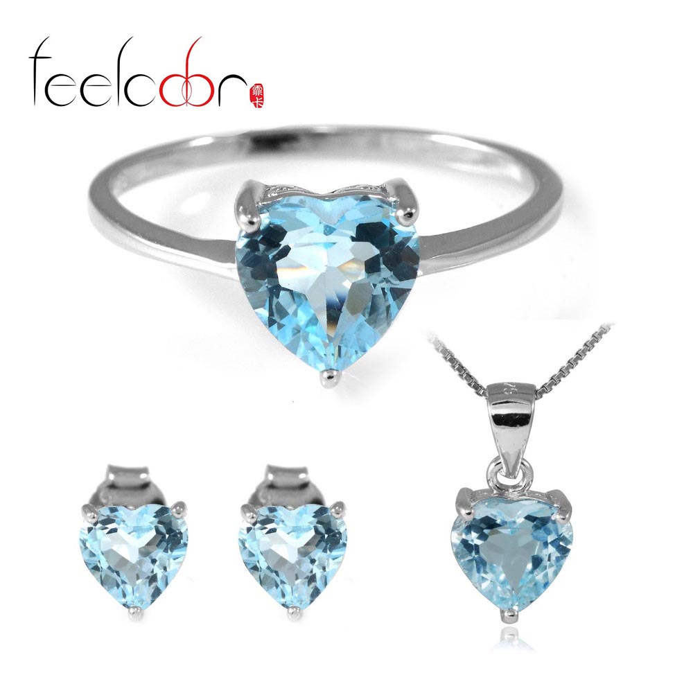 5.4 ct Natrual Topaz Ring Earring Pendant Necklace Jewelry Sets 925 Solid Sterling Silver Heart Shape Gemstone 2015 Brand New<br><br>Aliexpress